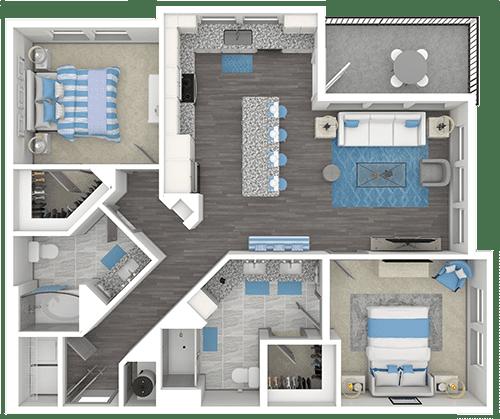 ContraVest two bedroom floorplan example